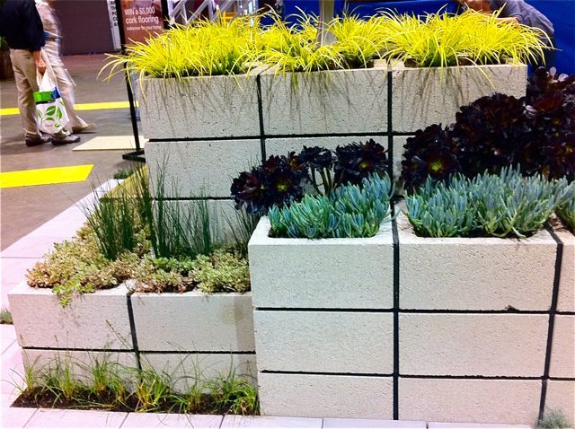 Potted S Diy Cinderblock Wall Potted Cinderblock Planter Cinder Block Walls Cinder Block Garden