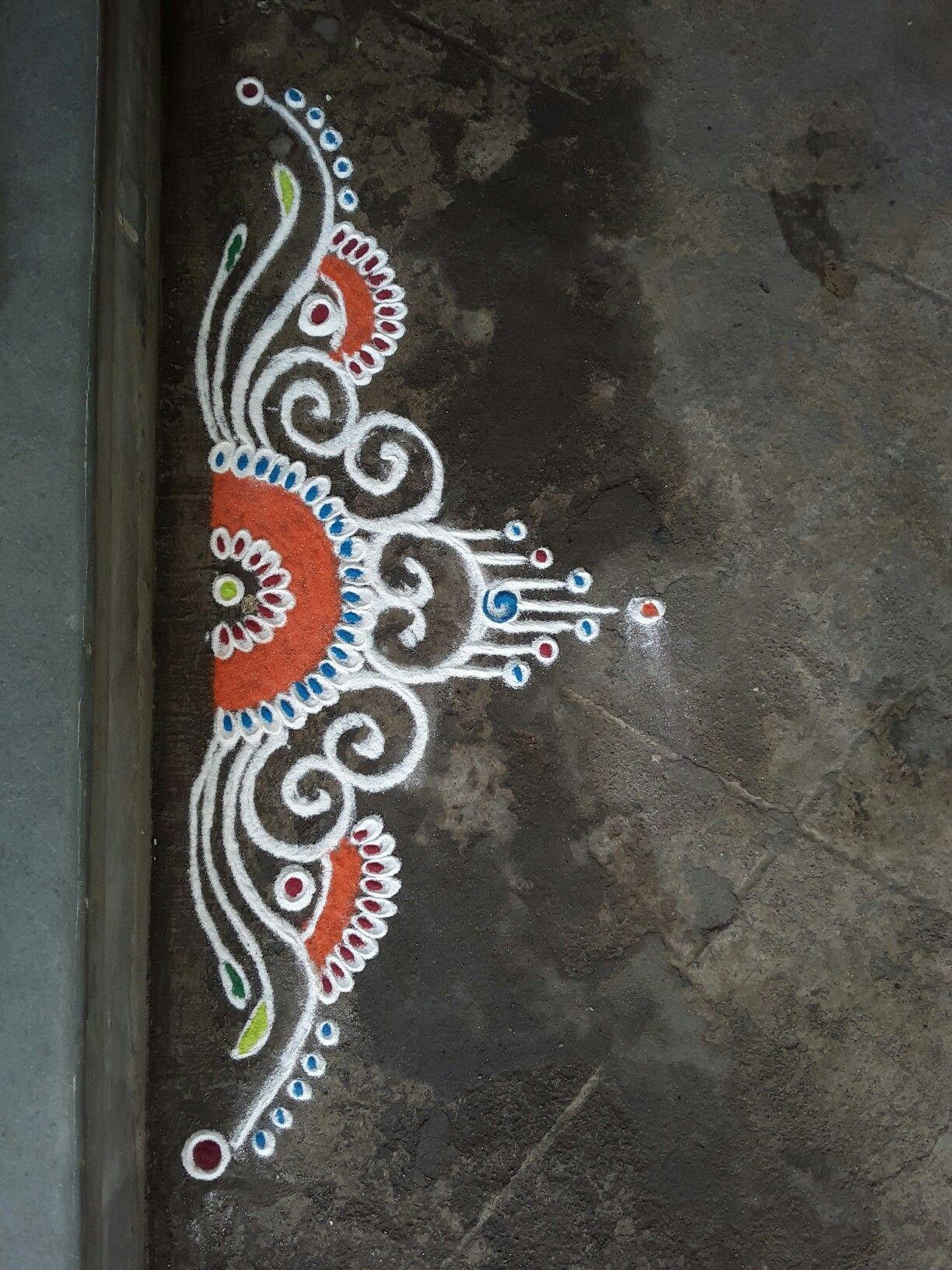 Anjali deshmukh 39 s door front simple rangoli art for Door rangoli design images new