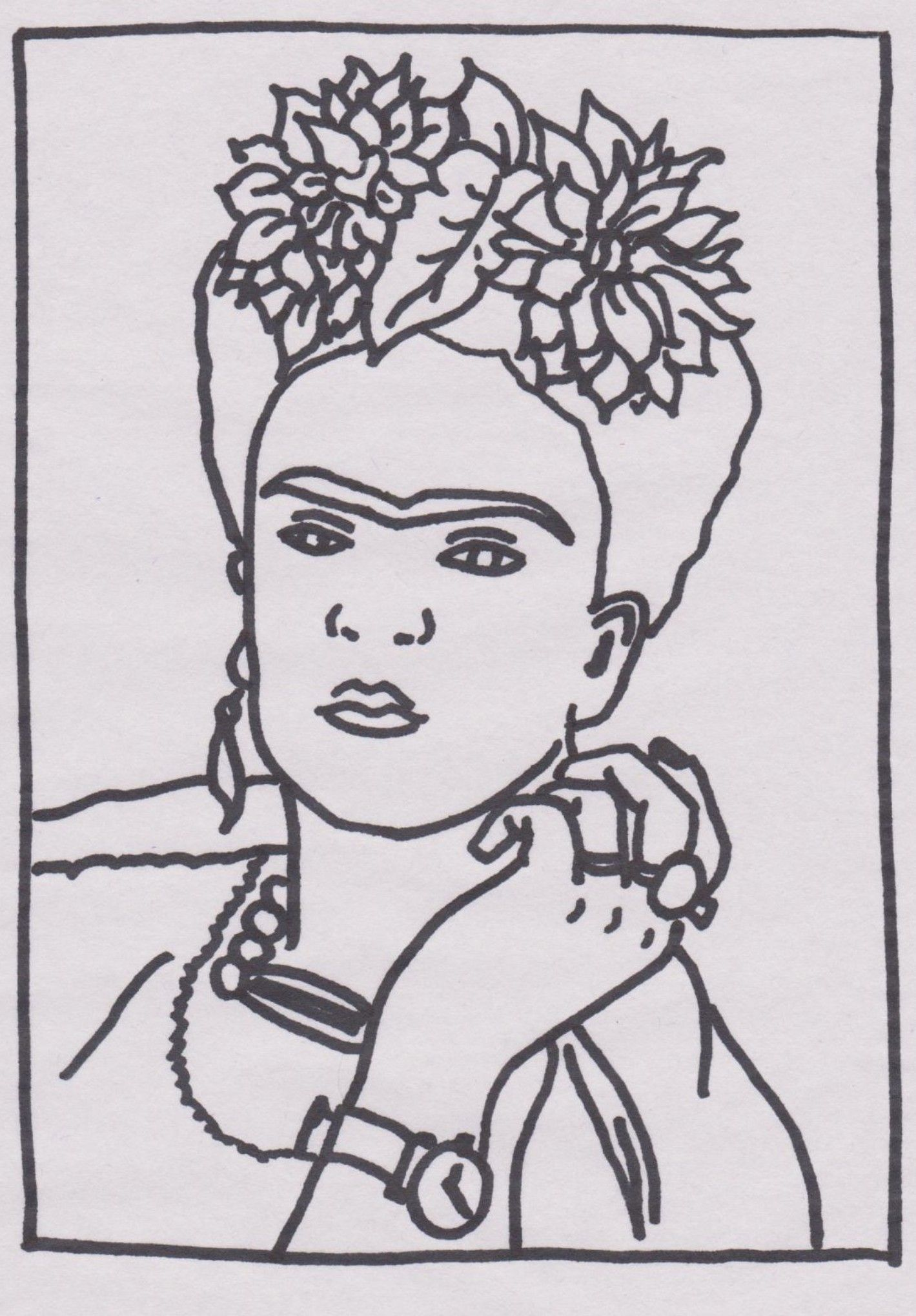 Frida Kahlo Self Portrait Art Colouring Page Sparrow Art Coloring Pages School Art Activities