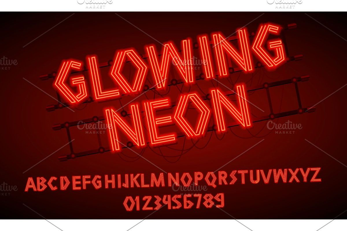 80 s red neon retro font Neon signs, Retro font, Neon