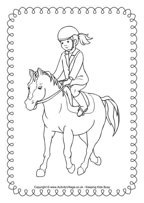 Horse riding colouring page 2