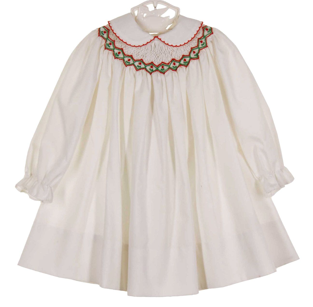 f55b41eb79fc NEW Polly Flinders White Smocked Dress with Holiday Embroidery and Lace  Trim $75.00 | Polly Flinders! | Baby Dress, Baby girl dresses, Smocking