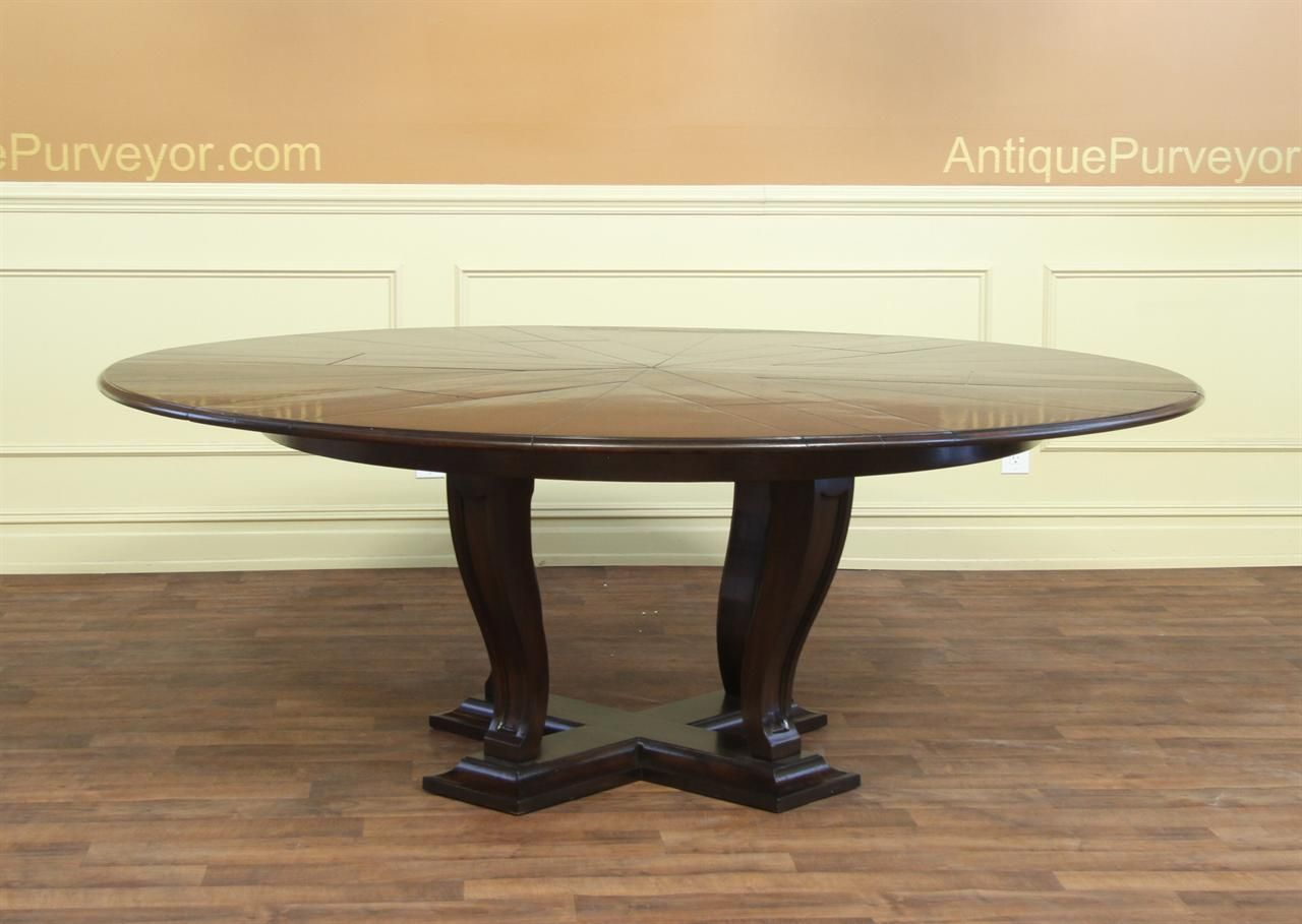 84 inch round dining table extra large large round transitional ebonized dining jute style diningtable 64 or 84 inches and can seat 610 people solid oak high end expandable round transitional jupe table oak opens to inches
