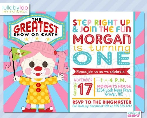 Circus Birthday Invitations (297) Girl Clown lullabyloo - Cards on - invitation for 1st birthday party girl