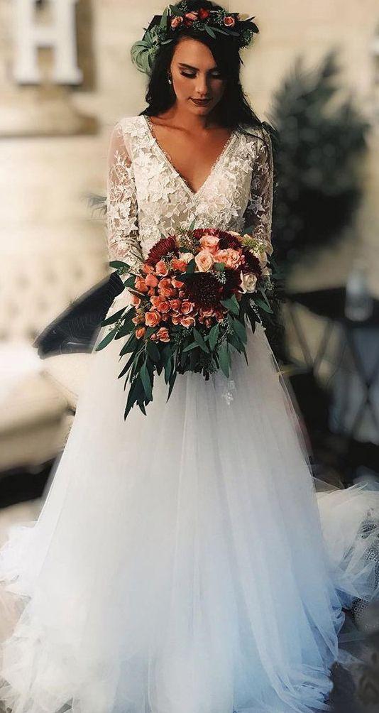 Rustic Wedding Dresses Long Sleeve Lace Tulle Boho Bridal Dress OW568