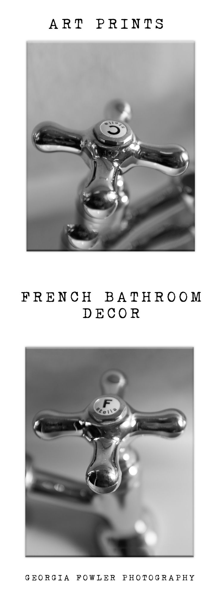 Bathroom Wall Art, Bathroom Prints, Set Of 2 Laundry Room Photos, Faucet,