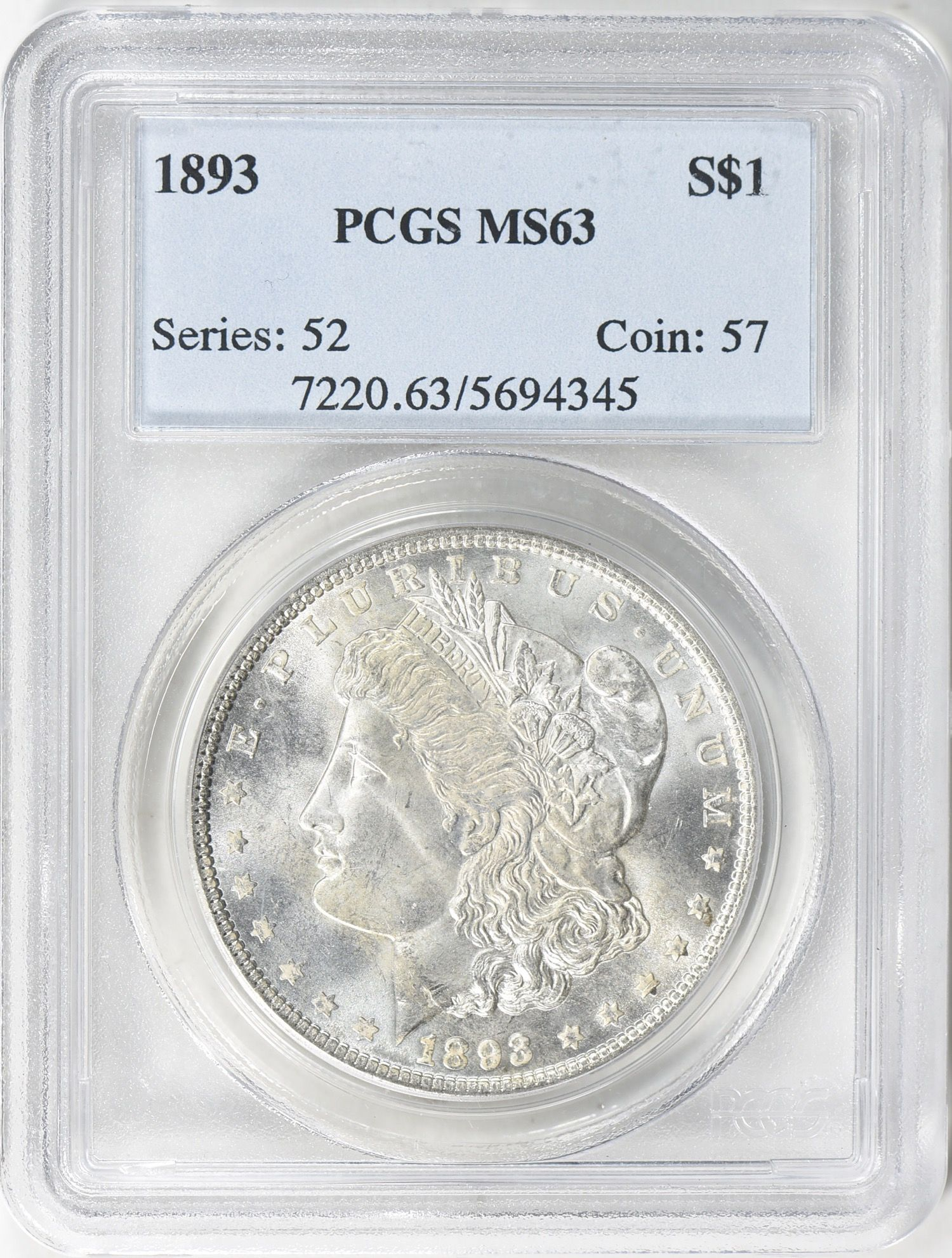 1893 Morgan Silver Dollar Pcgs Ms 63 From The Corning Collection Of U S Coins 1893 Morgan Silver Doll Morgan Dollars Morgan Silver Dollar Silver Dollar