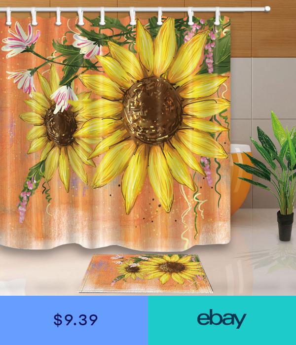 Flowers Decor Watercolor Sunflower Bathroom Shower Curtain Set