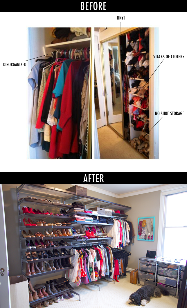 The shoe racks Before after of