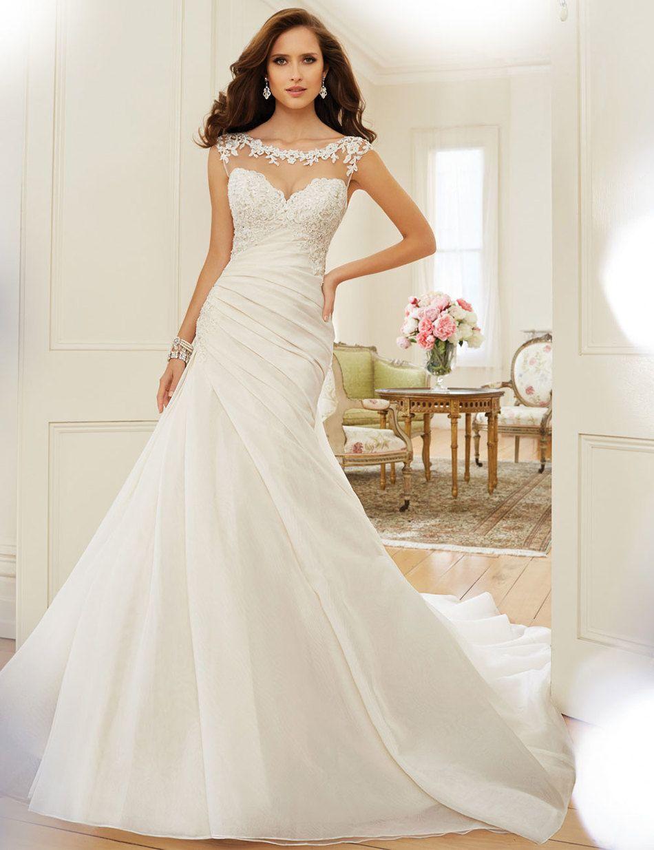 New aline wedding dress bateau crystal organza sweetheart