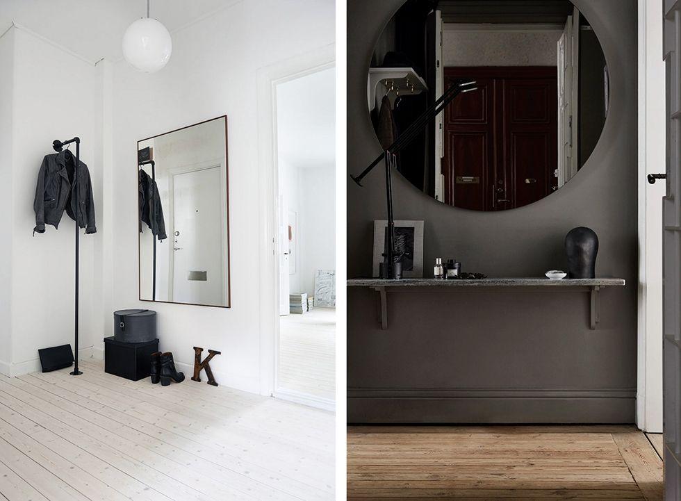 spegel med hylla hall