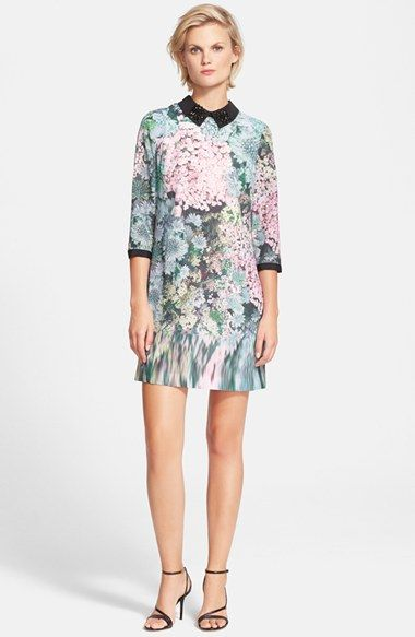 Free shipping and returns on Ted Baker London 'Glitch' Floral Print Embellished Tunic Dress at Nordstrom.com. Beaded clusters sparkle at the point collar of a three-quarter-sleeve tunic dress, its pastel flower print blurring as it reaches the hem.