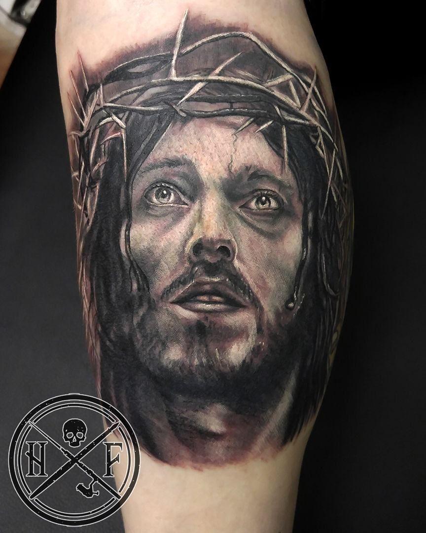 Jesus portrait by artist Hugh Fowler tattoosbyhugh