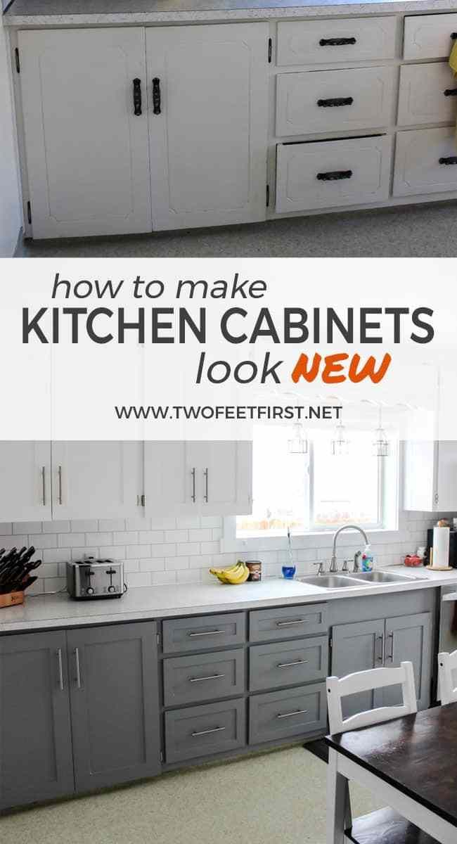 Update Kitchen Cabinets for Cheap - Kitchen cabinets on a budget, Update kitchen cabinets, Kitchen diy makeover, Cheap kitchen cabinets, How to make kitchen cabinets, Diy kitchen renovation - Are you wondering how to update your kitchen cabinets on a budget  This is a simple way to make your cabinets look modern with paint and trim