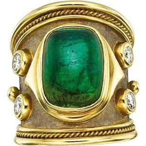 Elizabeth Gage Green Tourmaline Ring