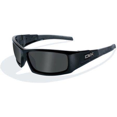 DVX Vizor Polarized Grey Lens / Gloss Black Frame Rx-able Sunglasses ...