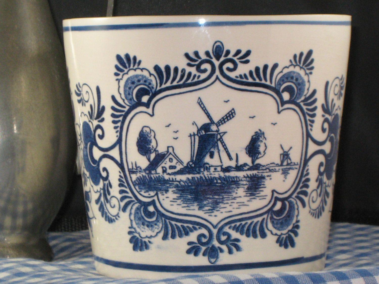 Delfts Blue Planter Pot/Deflts Blauw Pot Planter by iLikeEclectic on Etsy