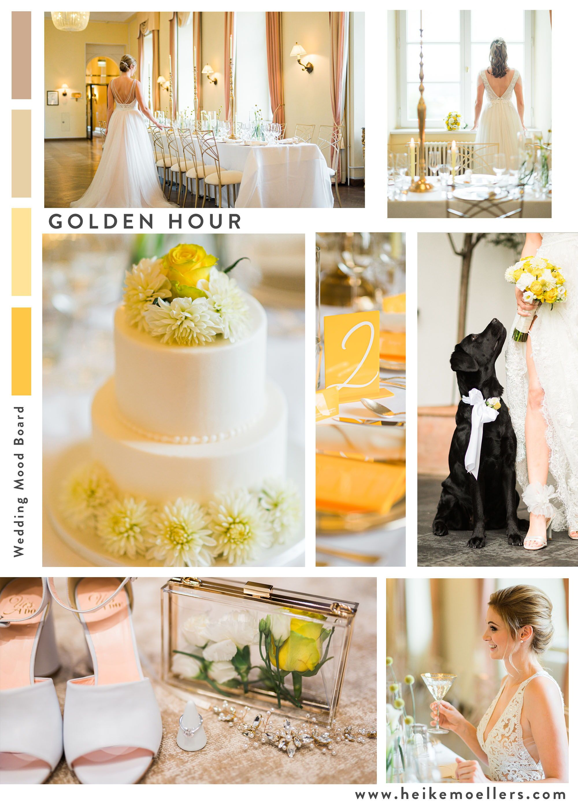 Golden and elegant are the words that came to mind when you see this modern wedding inspiration in a castle. Yellow is the key color of this sophisticated wedding inspiration. Find out more