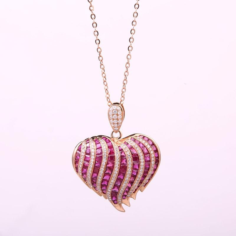 Robira fashion heart shape natural ruby pendant necklace 18k rose robira fashion heart shape natural ruby pendant necklace 18k rose gold diamond jewelry for women pendants necklaces wholesale mozeypictures Gallery