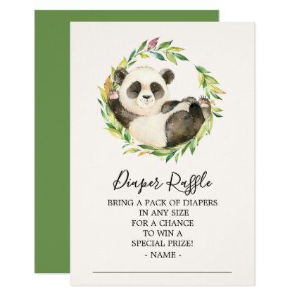 Sweet Panda Bear Baby Shower Diaper Raffle Ticket Invitation | Zazzle.com #babypandabears