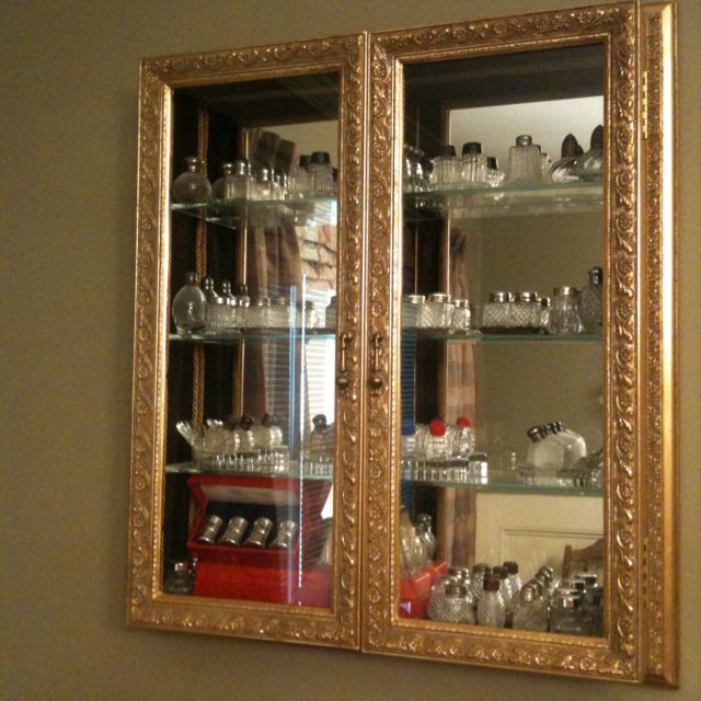 Bombay Co Wall Curio Displays Miniature Antique Salt Pepper Shaker Collection In Dining Room