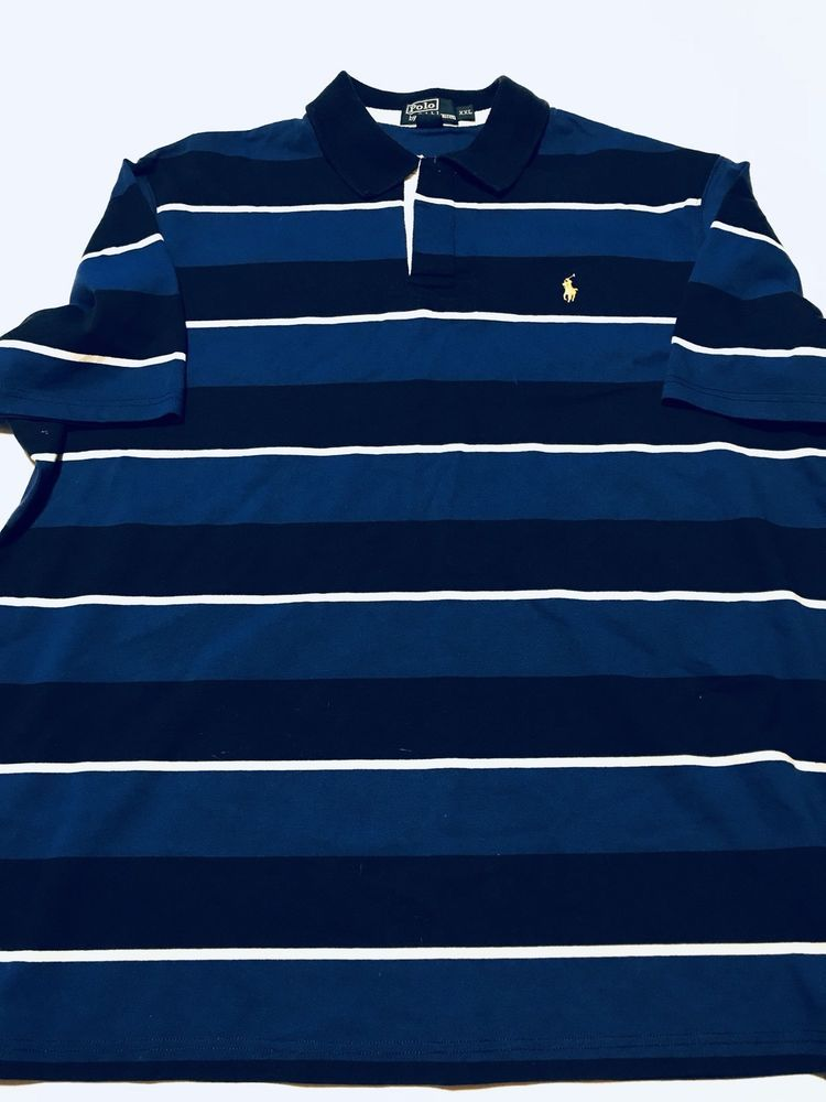 Polo Ralph Lauren Striped Rugby Shirt Navy Blue White Mens Xxl Ebay Rugby Shirt Polo Ralph Lauren Polo Ralph