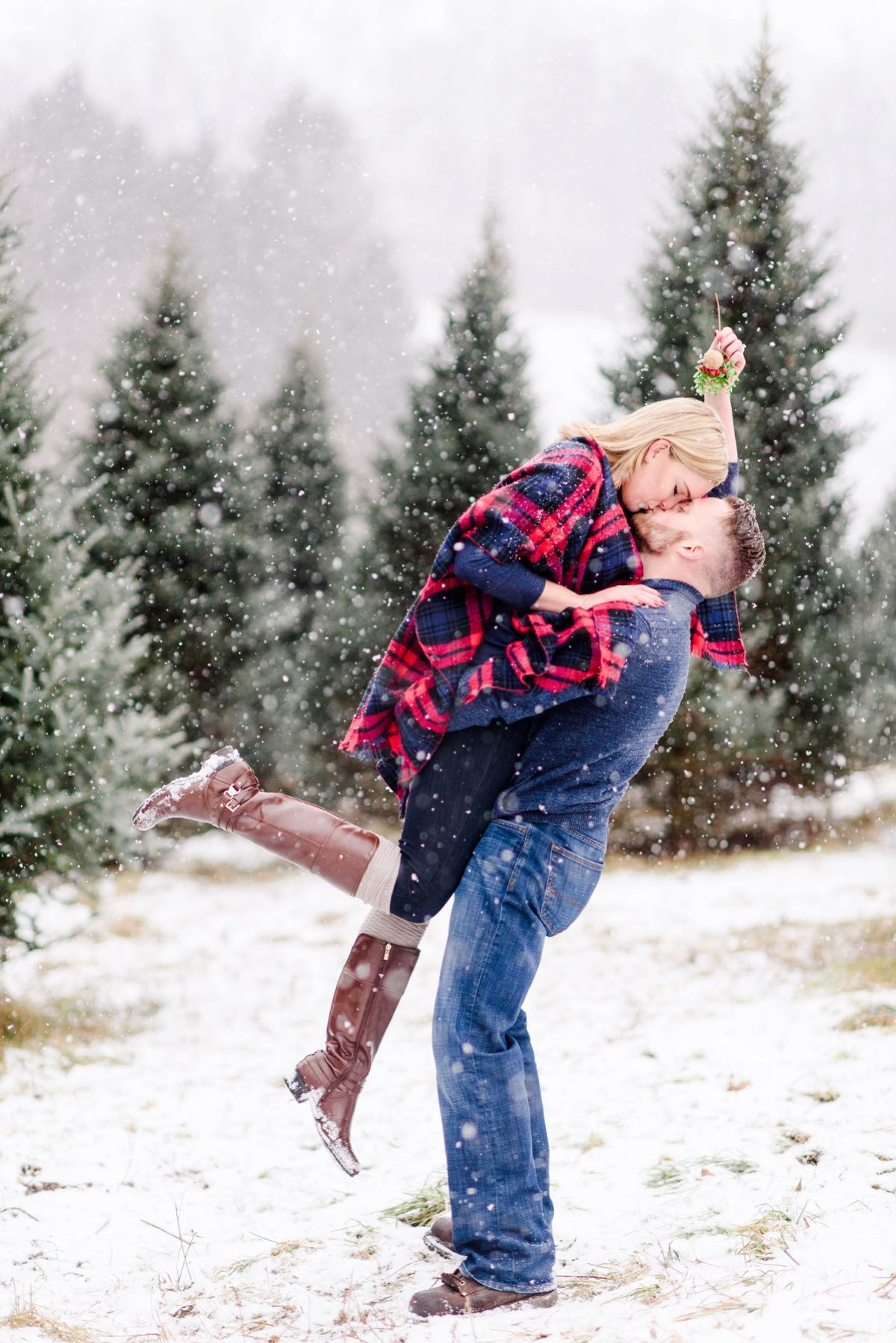 Snowy Christmas Tree Farm Engagement Session Christmas Tree Farm Photo Shoot Snowy Christmas Tree Tree Farm Photo Shoot