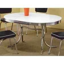 Retro Dining Table Vintage 50u0027s Mid Century Modern Chrome Kitchen Dinette  Oval
