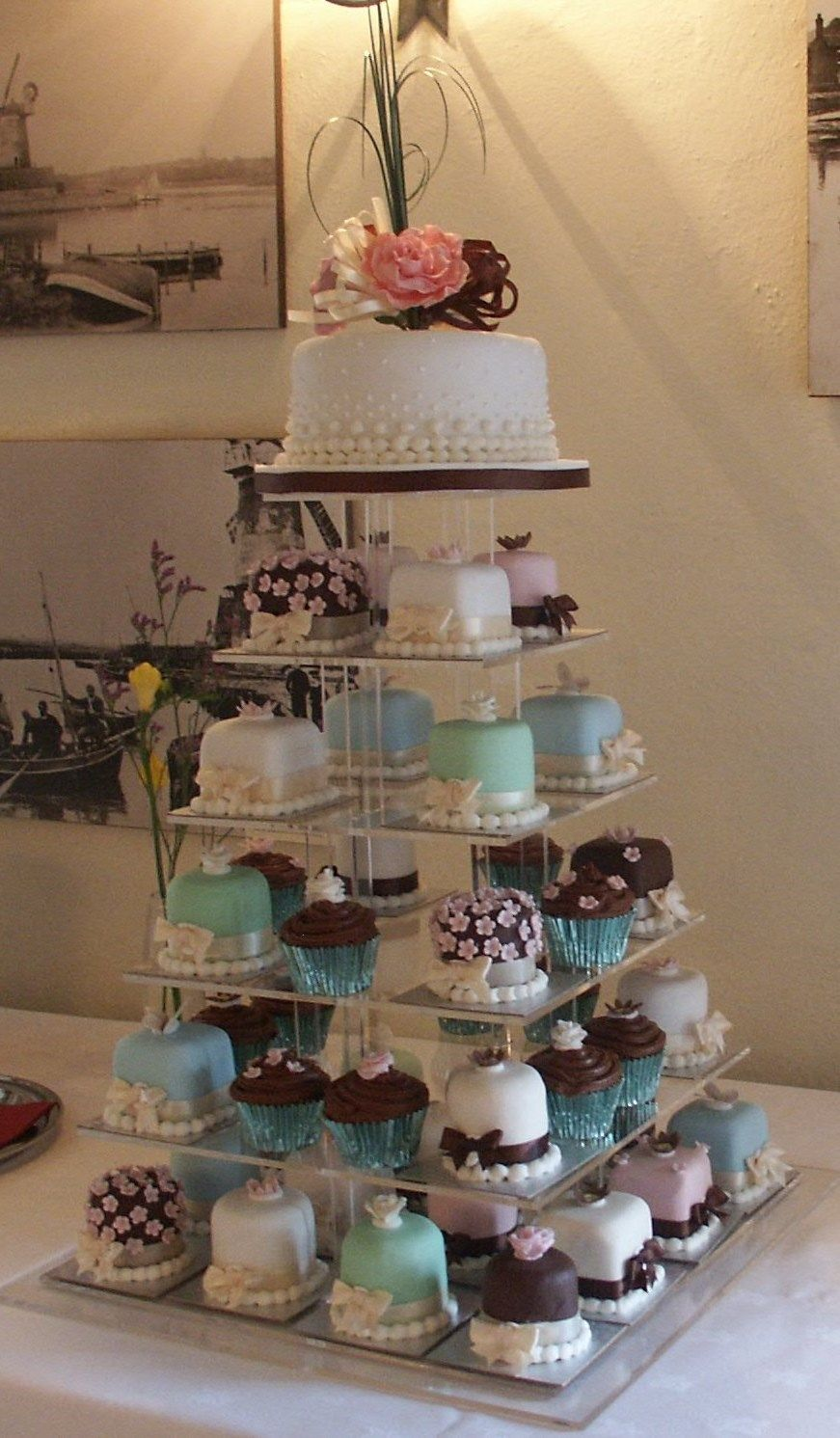 Mini Sponge Wedding Cakes Chocolate Cup And A Top Rich Fruit Cake For