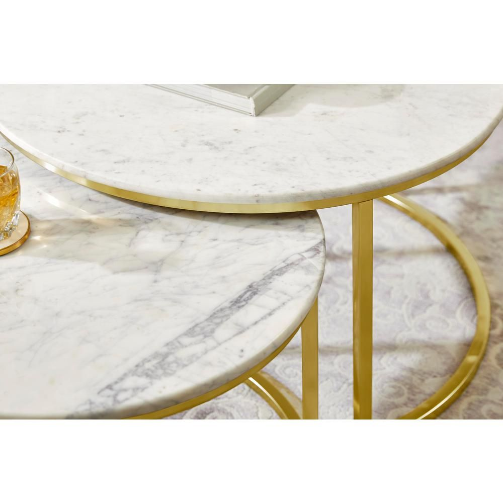 Home Decorators Collection Cheval 2 Piece 31 In Gold Marble Medium Round Marble Coffee Table Set Dc18 56100 The Home Depot In 2021 Marble Top Coffee Table Marble Coffee Table Set Coffee Table [ jpg ]