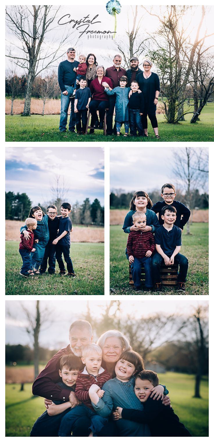 Extended Family portrait session posing with grandparents and grandchildren.  Large group for outdoor photos. #PictureIdeasForGrandchildren #grandkidsphotography