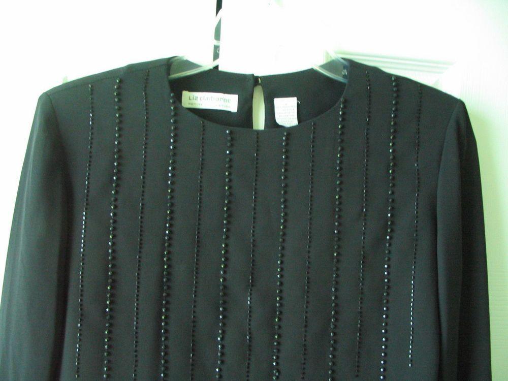 LIZ CLAIBORNE Black Sheer Blouse Top Beads Embellishment Long Sleeves Size 2P #LizClaiborne #SheerBlouse #Versatile