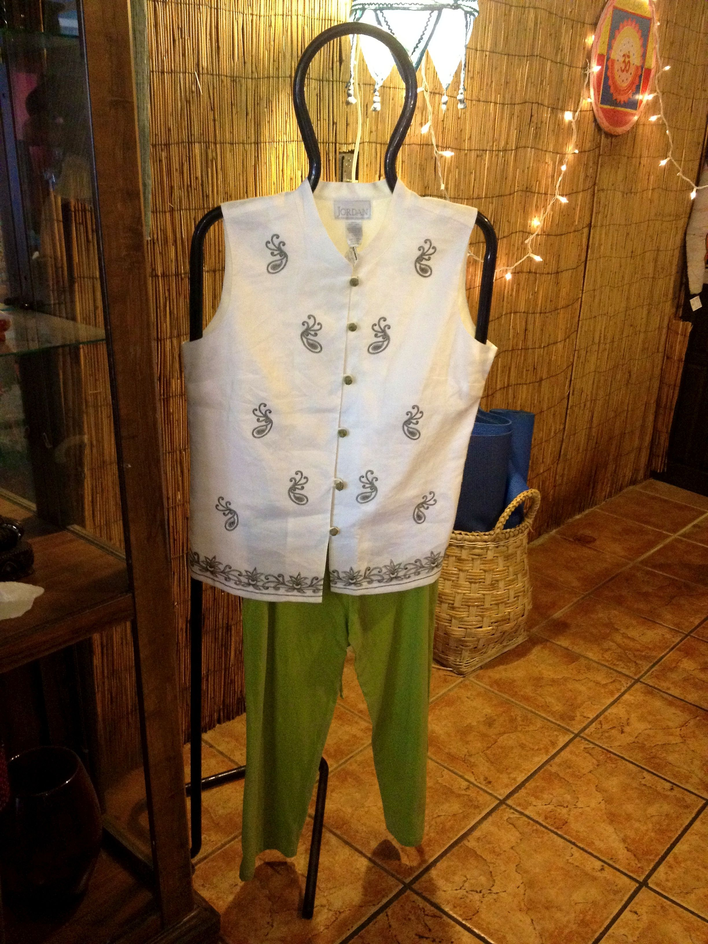 Love both the neru top with embroidery and the green pants.