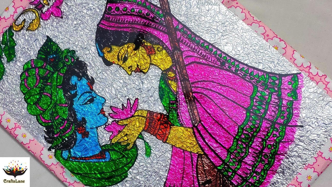 Radha Krishna Glass Painting Ohp Sheet Painting Idea Aluminium