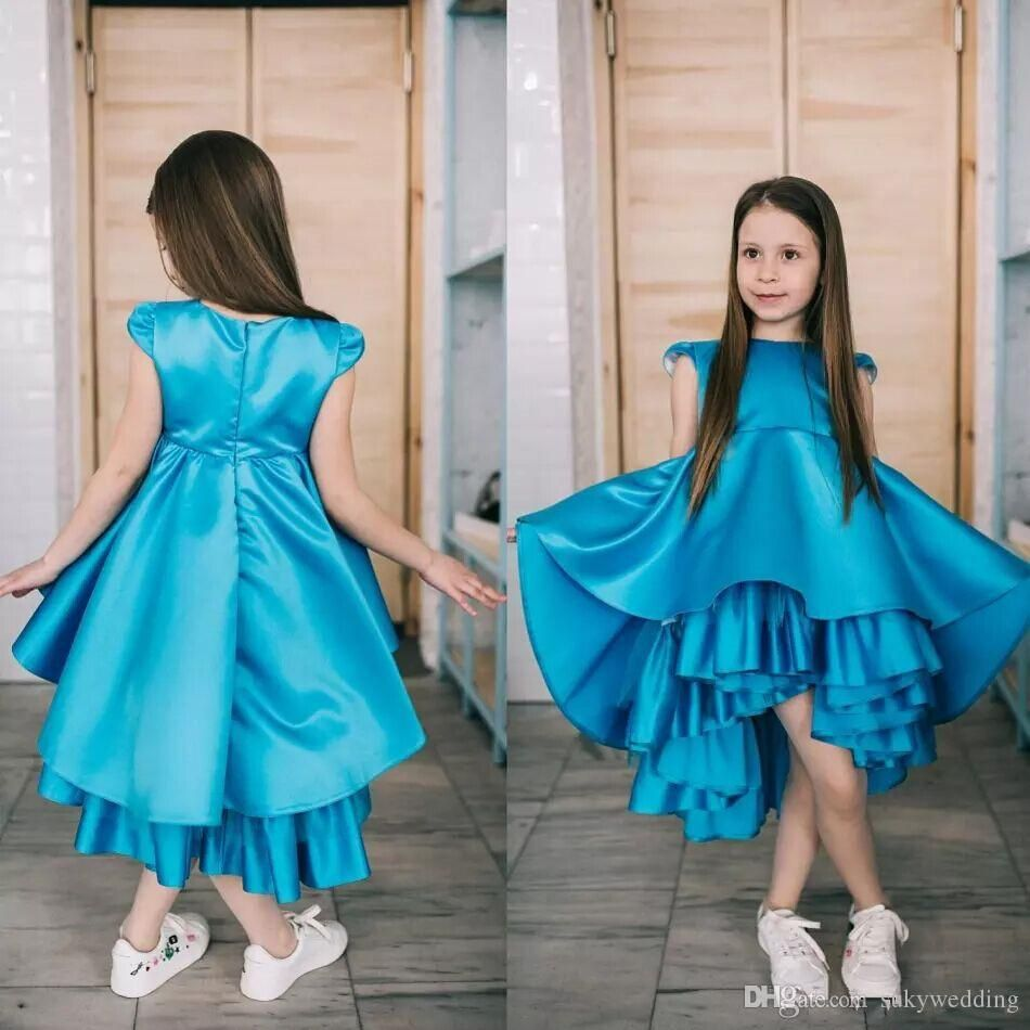 Lovely Girl Pageant Dresses for Teens Blue Satin Tiered Blue Hi-Low ...