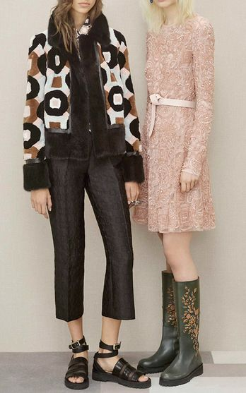 Elie Saab took us back to Swinging London this Pre-Fall. The era's romantic bohemia inspired gauzy fringed gowns, little A-Line shifts in powdery pastels, and laser-cut leather mini skirts. With rain boots finishing off several looks, it became clear that Elie Sabb was experiencing a Youth Quake in his own right.
