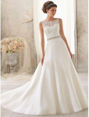 Satin Bateau Neckline A Line Wedding Dress With Lace Appliqued Illusion Bodice Jpg 350 460 Scoop Wedding Dress Chapel Train Wedding Dress Ivory Wedding Dress