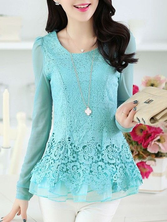 Long Sleeve  Lace Blouses Blouses from fashionmia.com