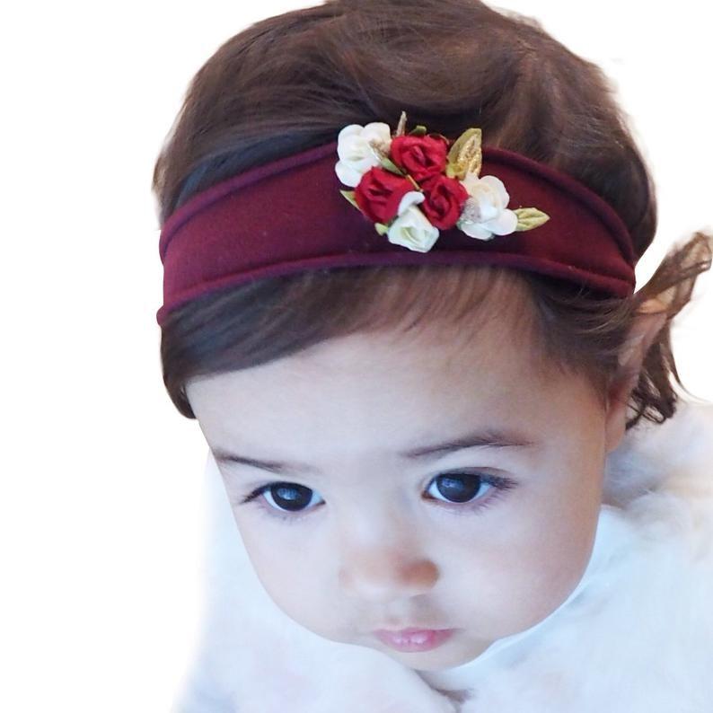 Burgundy headband baby girl girls headband headband for