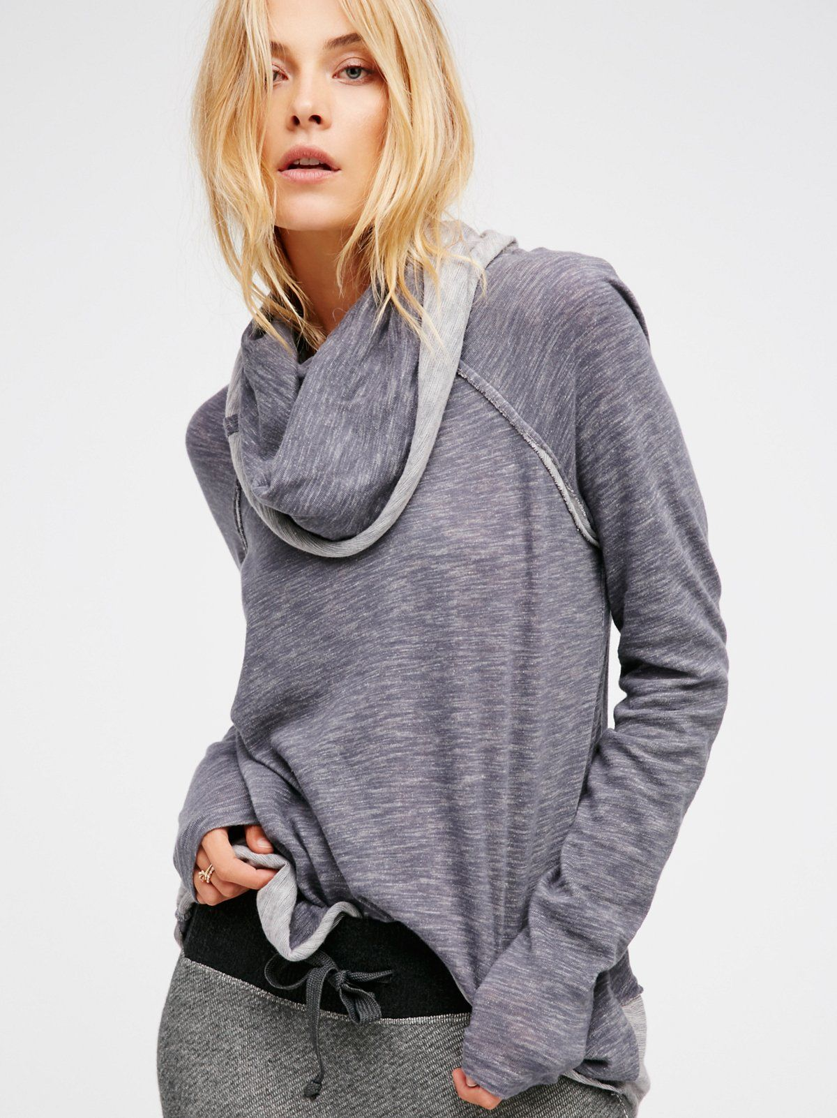 Cocoon Pullover | Knitted slouchy pullover with long raglan sleeves and an oversized turtleneck. Raw hems throughout.