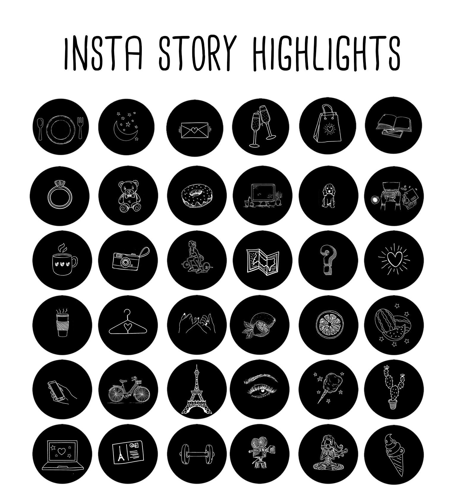 200+ Instagram Story Highlights Icons Covers Black and