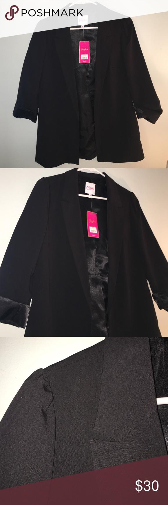 Black Blazer Candies black blazer, three quarter sleeve, small ruffles on the shoulders- New and Never worn Candie's Jackets & Coats Blazers
