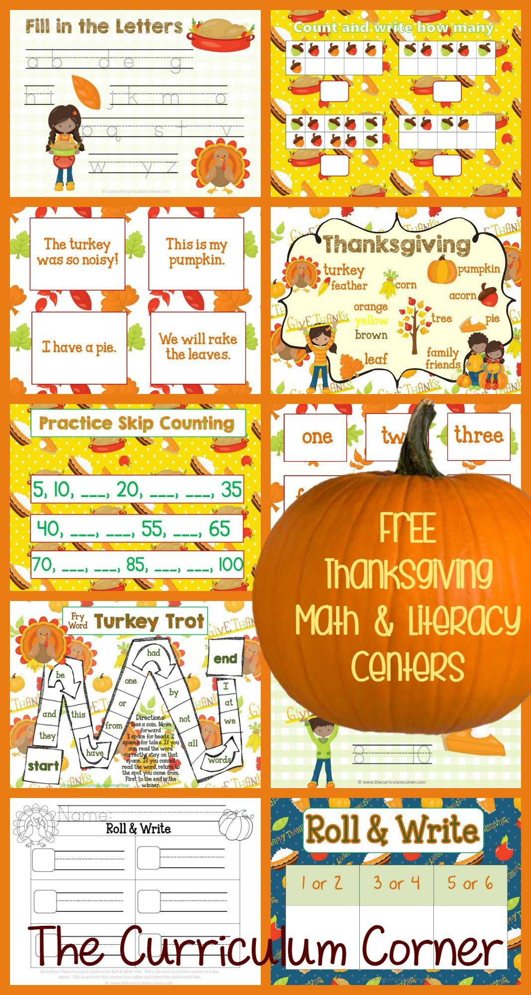 free thanksgiving math literacy centers from the curriculum corner fry words math