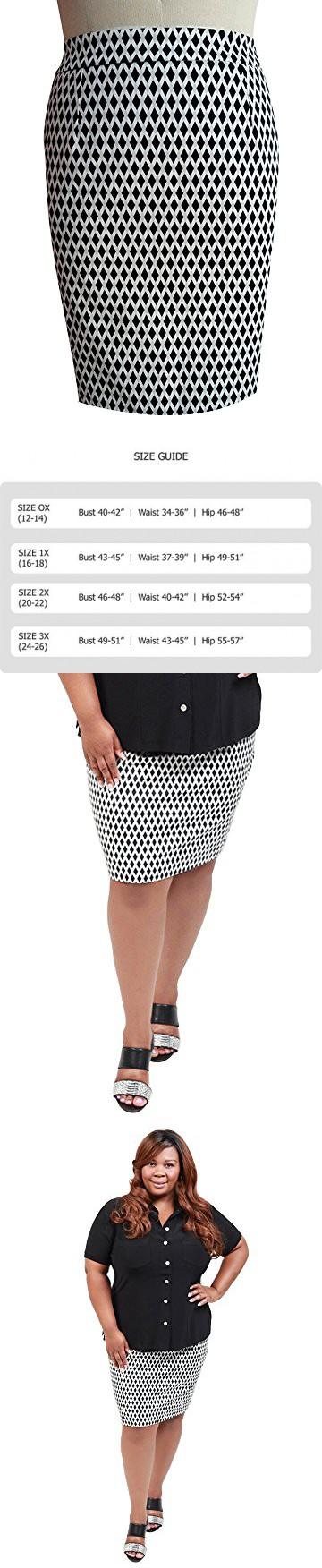 09697ba996d TD New York Curvy Women s Plus Size CHRISSA Cotton Pencil Skirt in Black  White Geometric Print