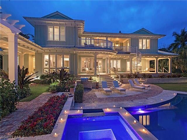 A 7 Million Piece Of Paradise In Naples Fl Pool Houses Florida Pool Pool At Night