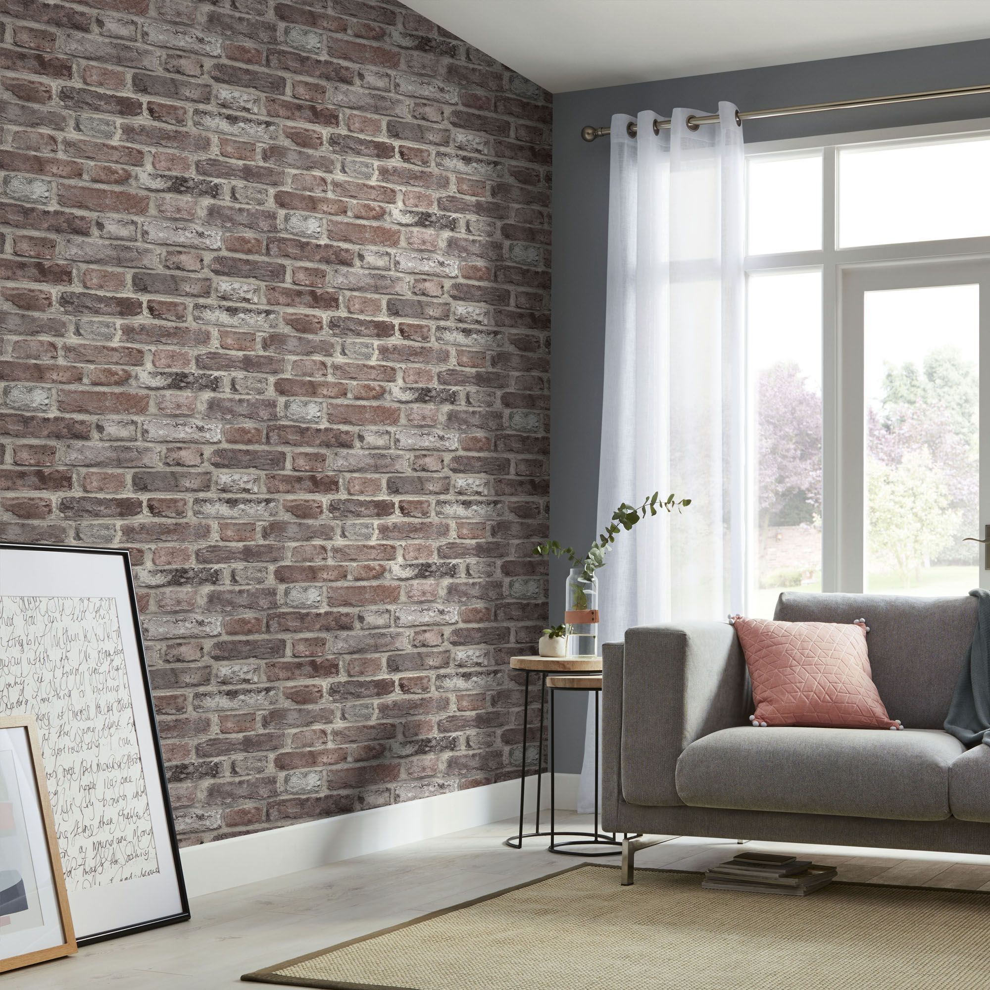 Tanlay Red Brick Smooth Wallpaper In 2020 Brick Wallpaper Living Room Red Brick Wallpaper Living Room Red Living Room Walls