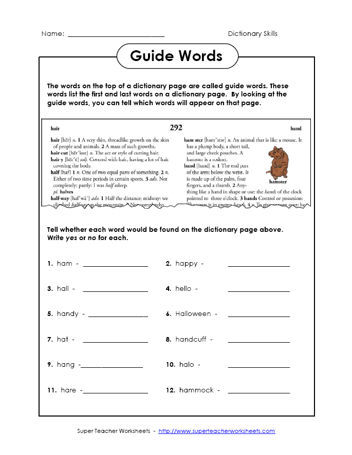 Dictionary Guide Words Inferencing Worksheet For 2nd Graders
