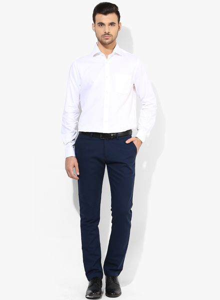 4bd90ebe9c9 Blue pant and white shirt complete your formal attire.