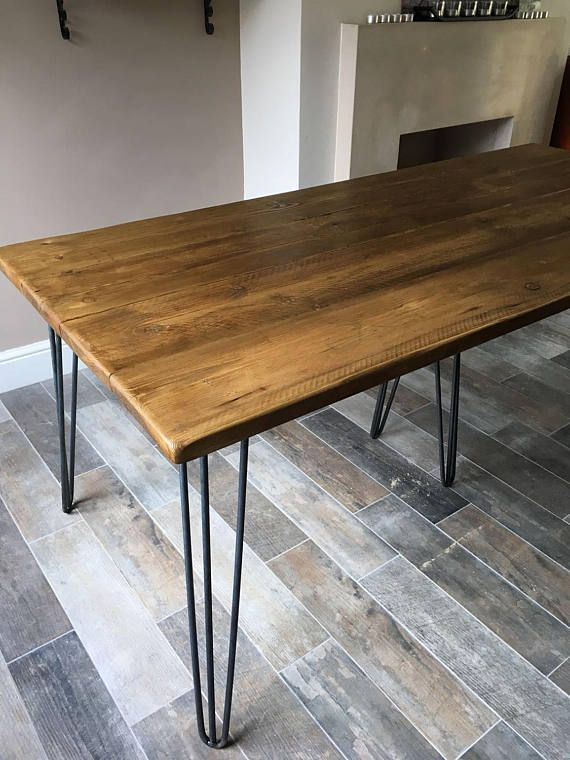 The Jules Handmade Reclaimed Dining Table With Industrial Style Hairpin Legs Muebles Hierro Y Madera Muebles De Hierro Muebles