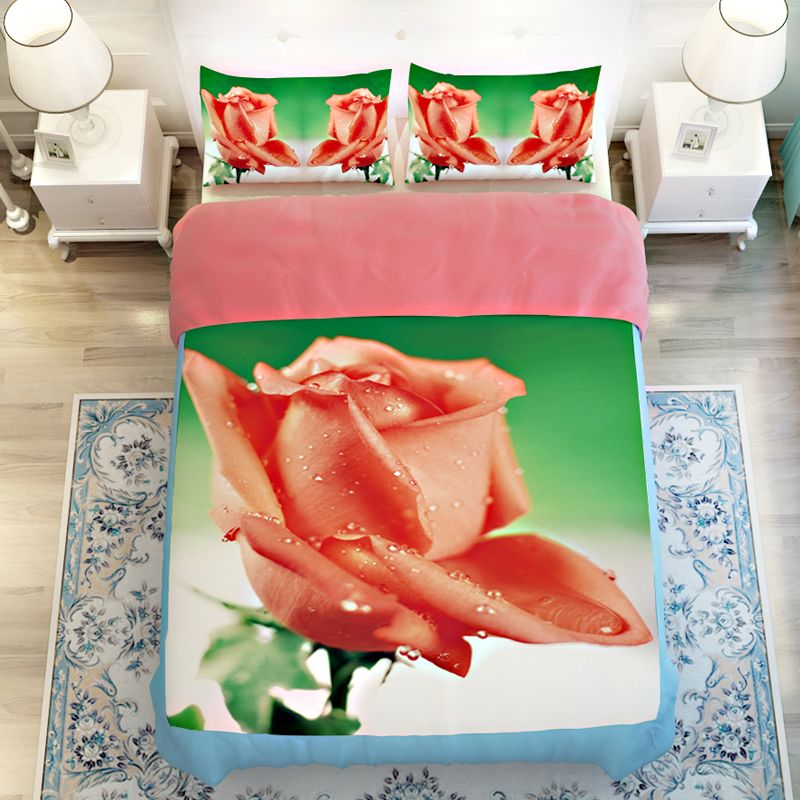 Coral Colored Rose 3D Floral Bedding Sets Twin Queen King Size Soft  Polyester Fabric Textiles Duvet